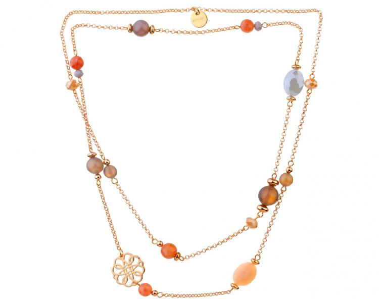 Gold-Plated Brass Necklace with Sunstone