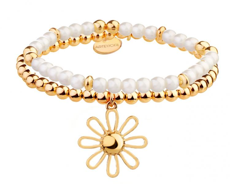 Gold-Plated Brass Bracelet with Pearl