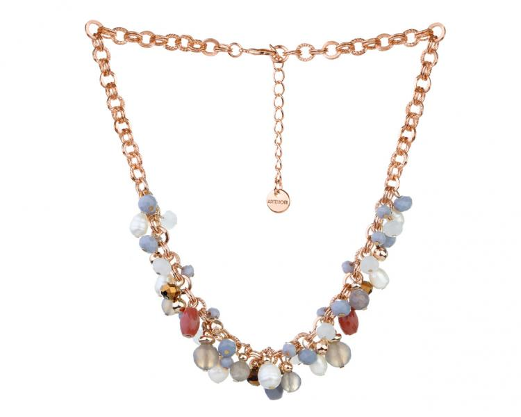 Gold-Plated Brass Necklace with Agate