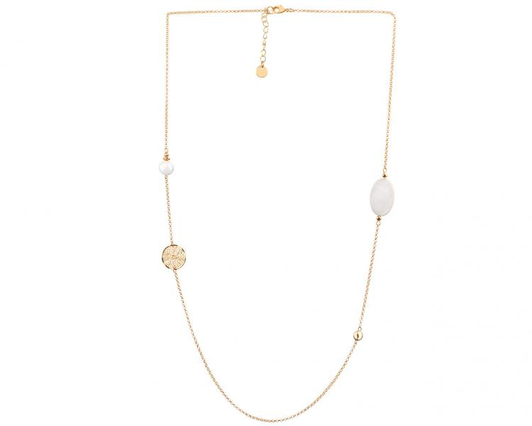 Gold-Plated Brass Necklace with Pearl
