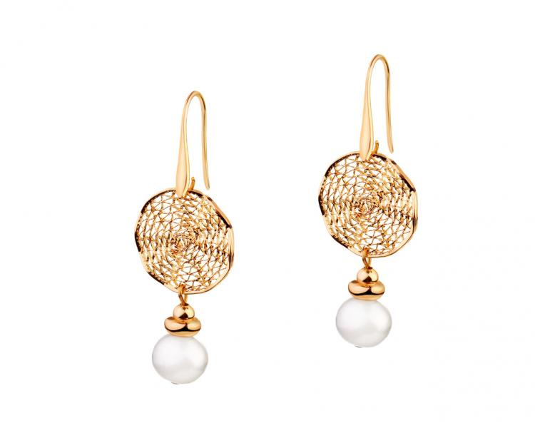 Gold-Plated Brass Earrings with Pearl