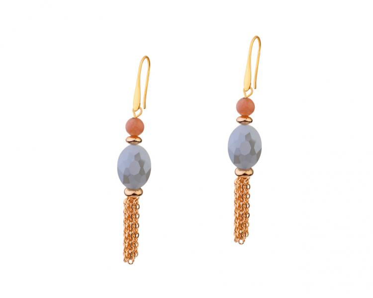 Gold-Plated Brass Earrings with Sunstone