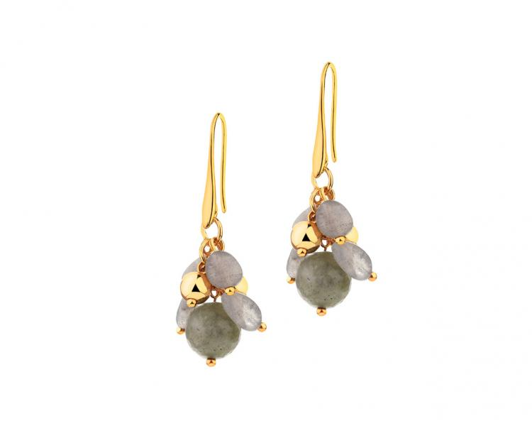 Gold-Plated Brass Earrings with Agate