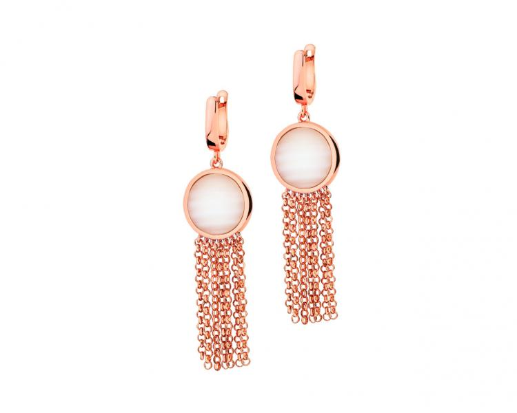 Gold-Plated Brass, Gold-Plated Silver Earrings with Shell
