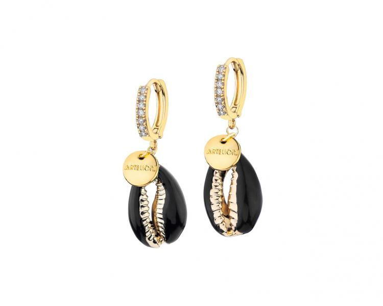 Gold-Plated Brass Earrings with Cubic Zirconia