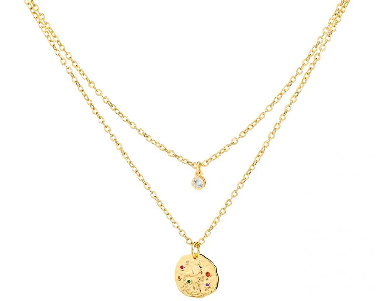 Gold-Plated Brass Necklace with Cubic Zirconia