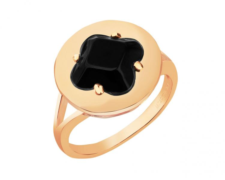 Gold-Plated Brass Ring with Onyx