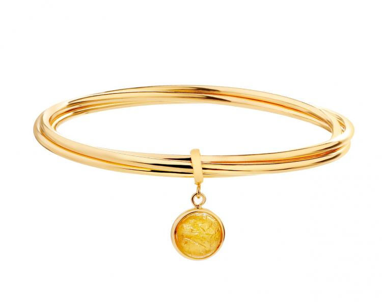 Gold-Plated Bronze Bracelet with Murano Glass