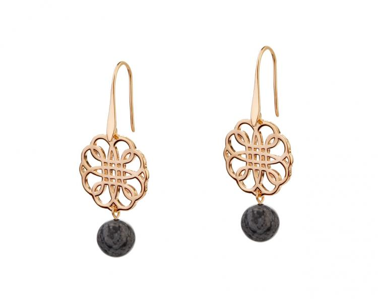Gold-Plated Brass Earrings with Obsidian