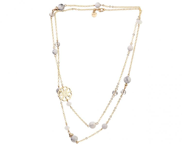 Gold-Plated Brass Necklace with Howlite