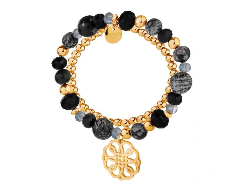 Gold-Plated Brass Bracelet with Obsidian